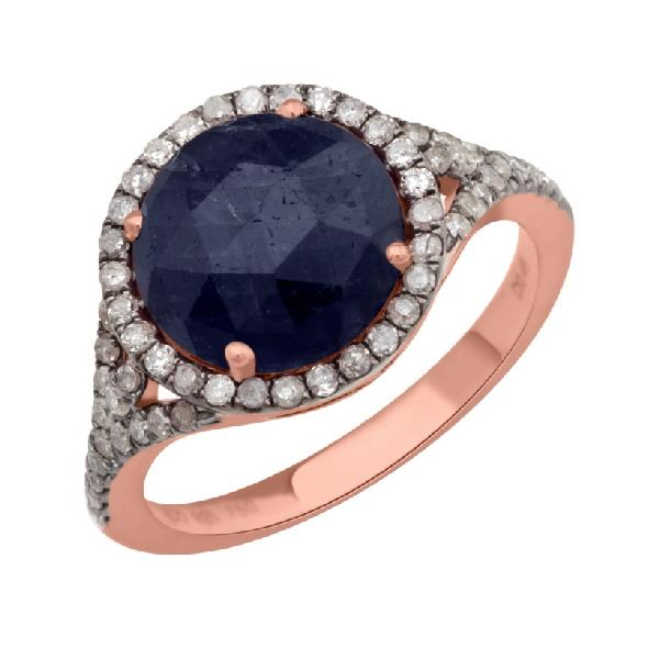 18 KT Yellow gold and Silver Ring Brown Diamonds Sapphire