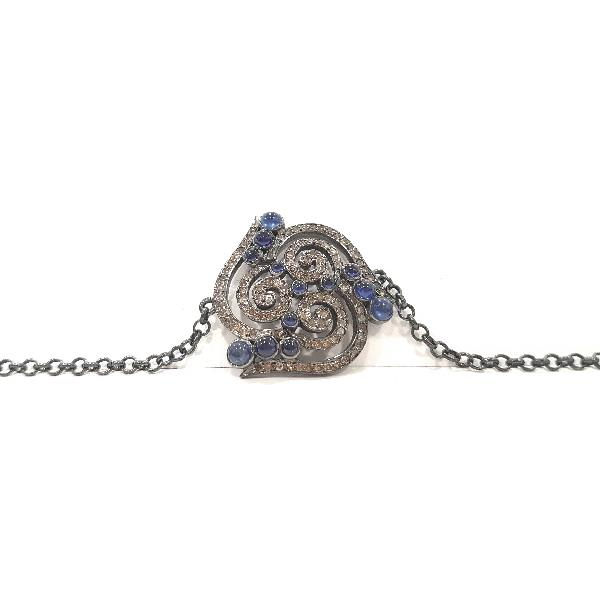 Bracelet in Silver, Diamonds and Sapphire
