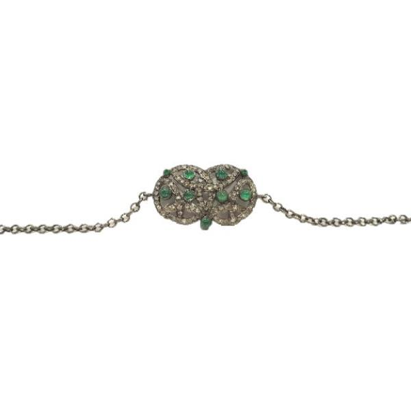 Bracelet in 18 Kt Gold with silver, Diamonds and Emeralds