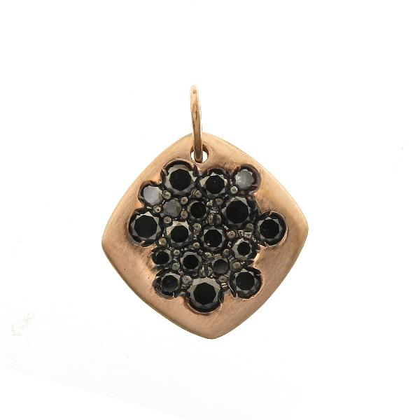 Pendant 18 Kt Rose Gold Black Diamonds