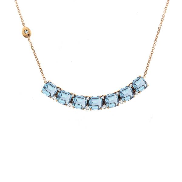 Necklace 18 Kt Rose Gold Diam Aquamarine
