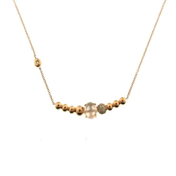 Necklace 18Kt Rose Gold Diam Rose Quartz