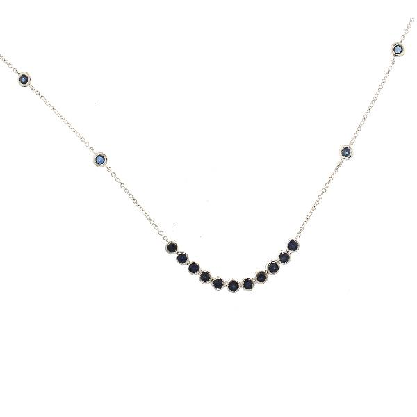 Necklace 18Kt White Gold Blue Sapphires