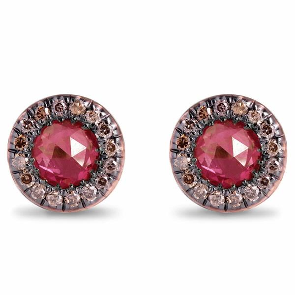 18Kt Rose Gold Earrings Br Diamonds Ruby