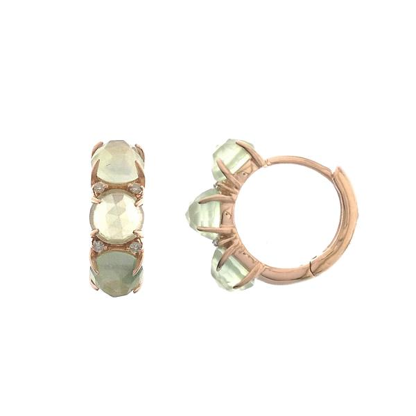 18Kt Rose Gold Earrings Diamond Prehnite