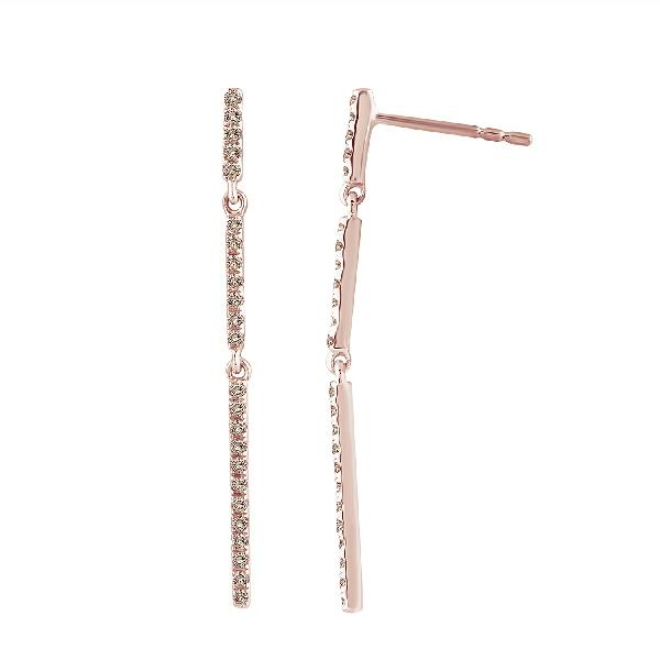 Earrings 18 Kt Rose Gold Diamonds