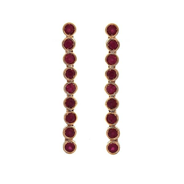 Earrings 18Kt Rose Gold Rubies