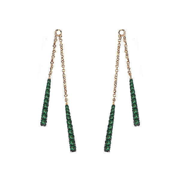 Earrings 18 Kt Yellow Gold Emerald