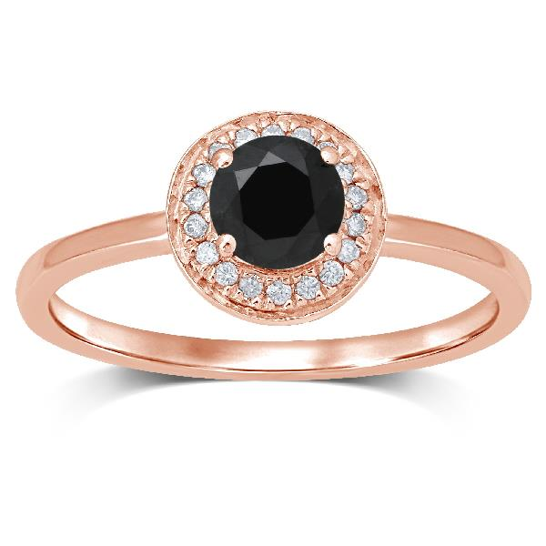 Ring 18 Kt Rose Gold Black Diamond