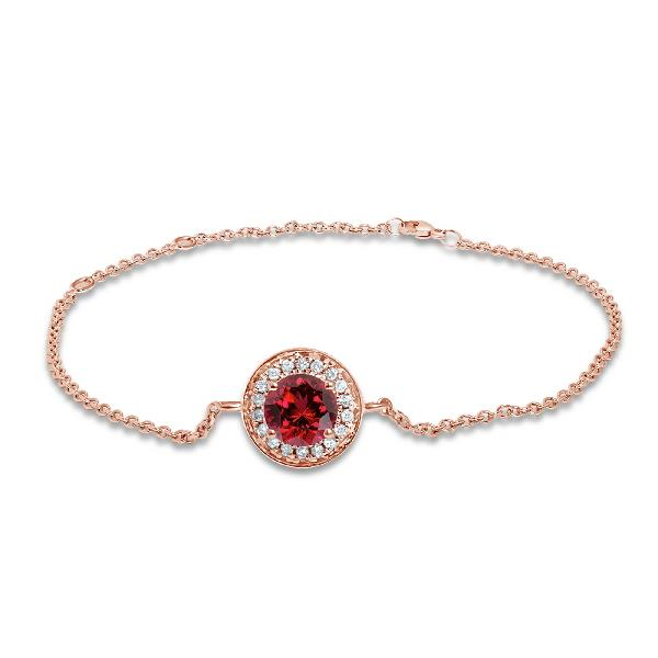 Bracelet 18 Kt Rose Gold Diamonds Ruby