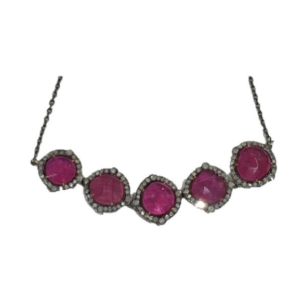 Necklace 18 Kt Gold Silver Diamonds Ruby