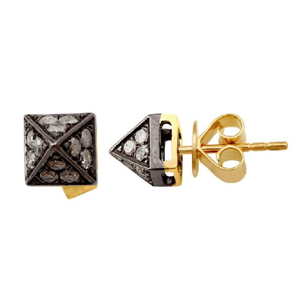 Earrings 18 Kt Gold & Silver with diam