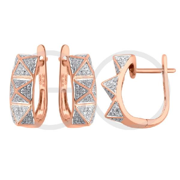 Earrings in 18 Kt rose gold with diamonds