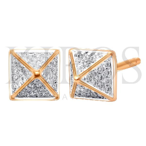 Earrings in 18K Rose gold with diamonds