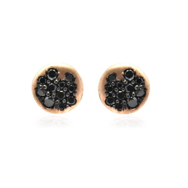 Earrings 18 Kt Rose Gold Black Diamonds