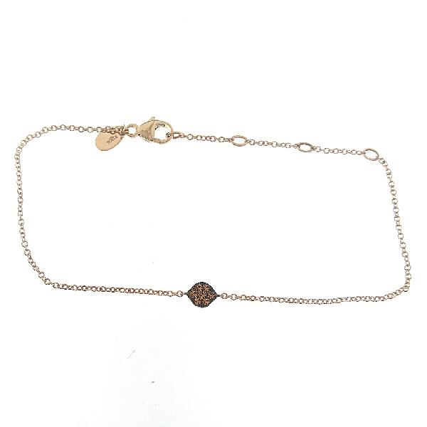 Bracelet in 18 Kt rose gold with brown diamonds