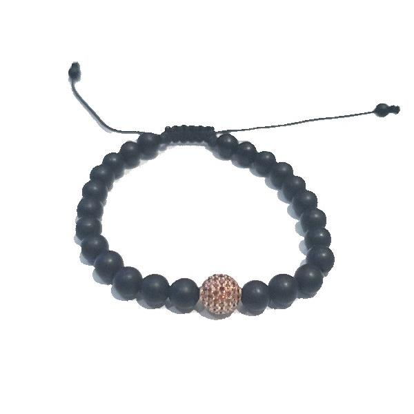 Bracelet 18Kt Rose Gold Brown Diam Onyx
