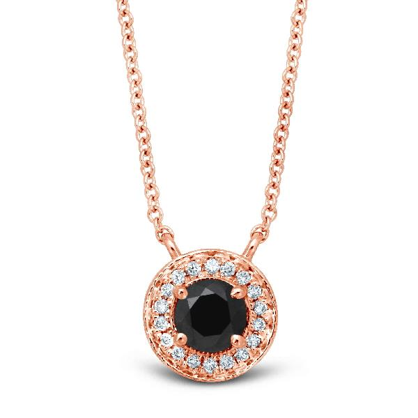 Pendant 18 Kt Rose Gold Black Diamond