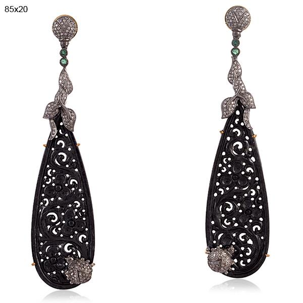 18Kt Gold & Silver Earrings with diamonds, onyx and emeralds