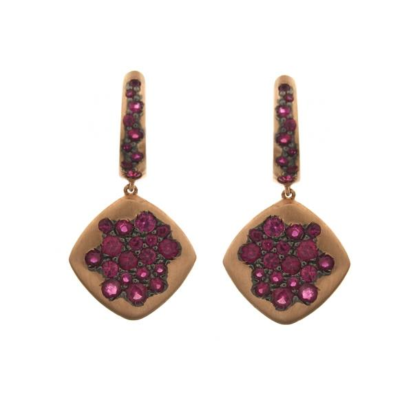 Earrings 18Kt Rose Gold Ruby