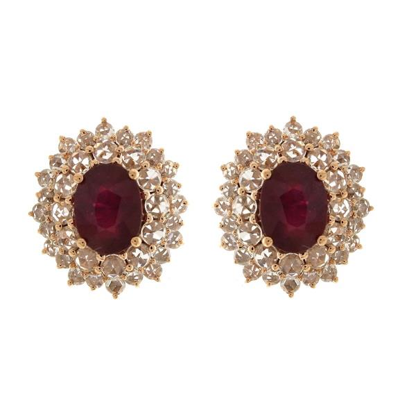Earrings 18 Kt Rose Gold Diamonds Ruby