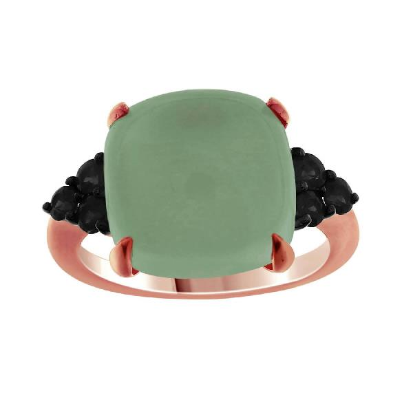 Ring 18 Kt Rose Gold Black Dia and Agate