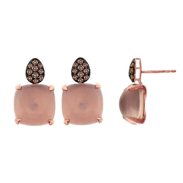 Earrings 18 Kt Rose Gold Br Dia Rose Qtz