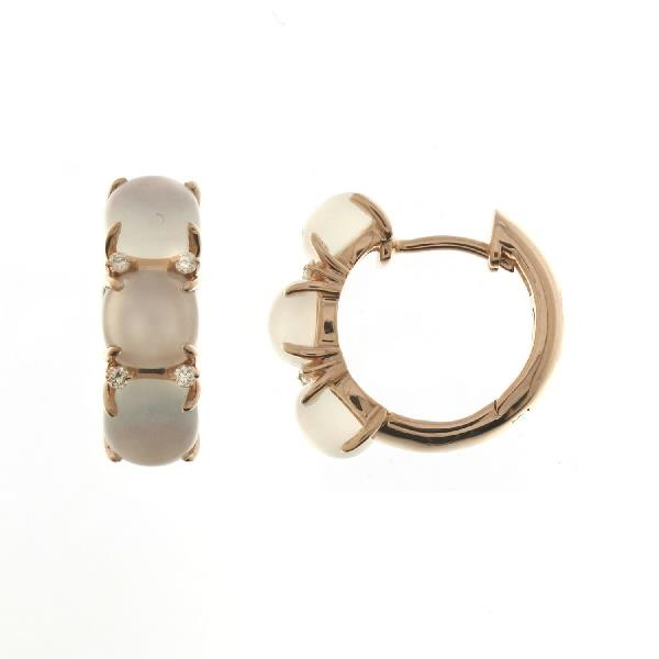 Earrings 18Kt Rose Gold Diam Moonstones