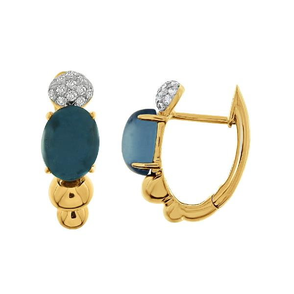 Earrings 18Kt Rose Gold Diam Blue Topaz