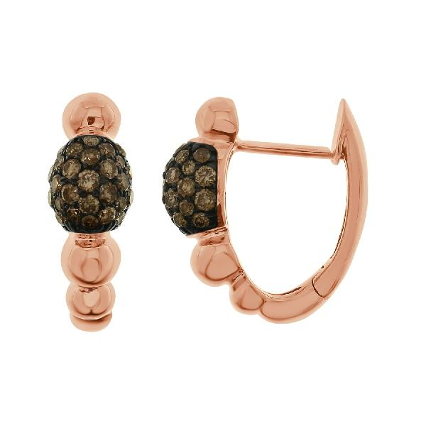 Earrinsg 18Kt Rose Gold Brown Diamonds