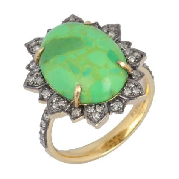 Ring 18 Kt Gold Silver Diamond Turquoise