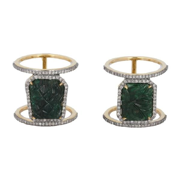 Ring 18 Kt Gold Silver Diamond Emerald