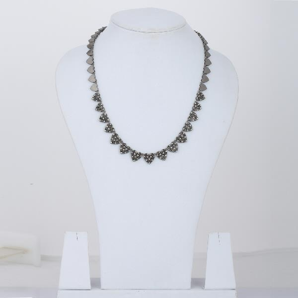 Necklace Silver Diamonds Black Spinal