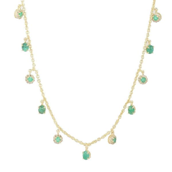 Necklace 18 Kt Gold Silver Diam Emerald