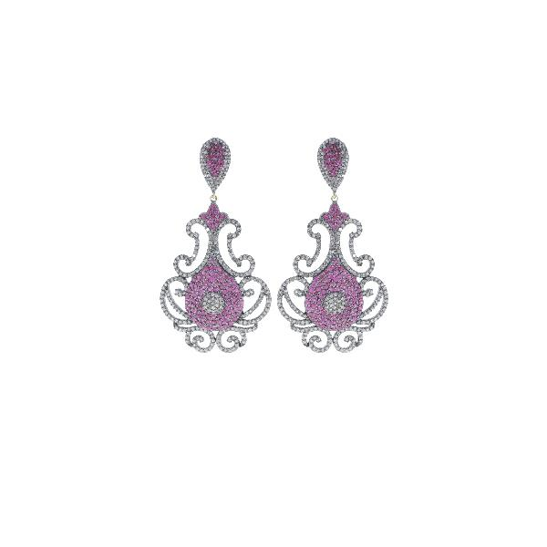 Earrings 14 Kt Gold Silver Diamonds Ruby