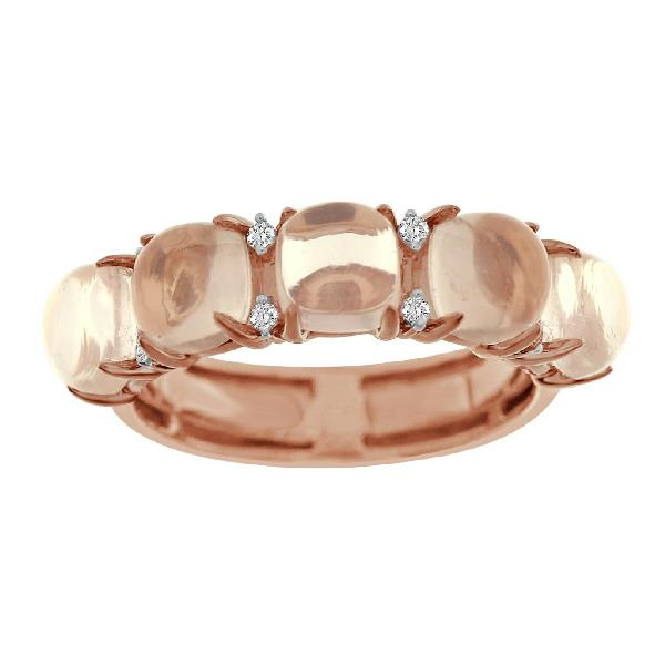 Ring 18Kt Rose Gold Diamonds Rosequartz