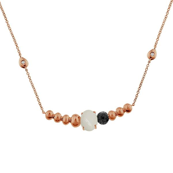 Necklace 18 Kt Rose Gold Diamonds Agate