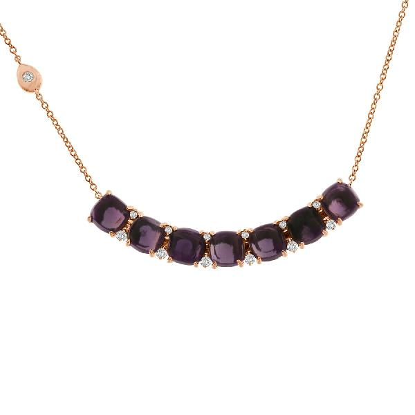 Necklace 18 Kt Rose Gold Diam Amethyst