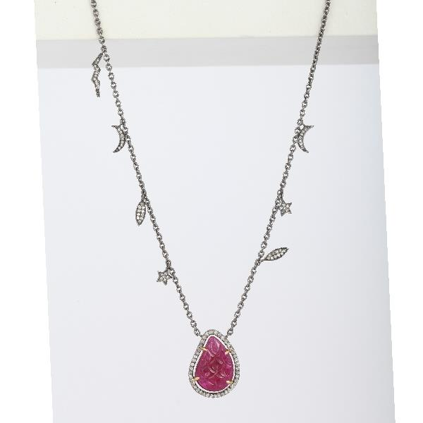 Pendant 18 KT Gold Silver Diam Ruby