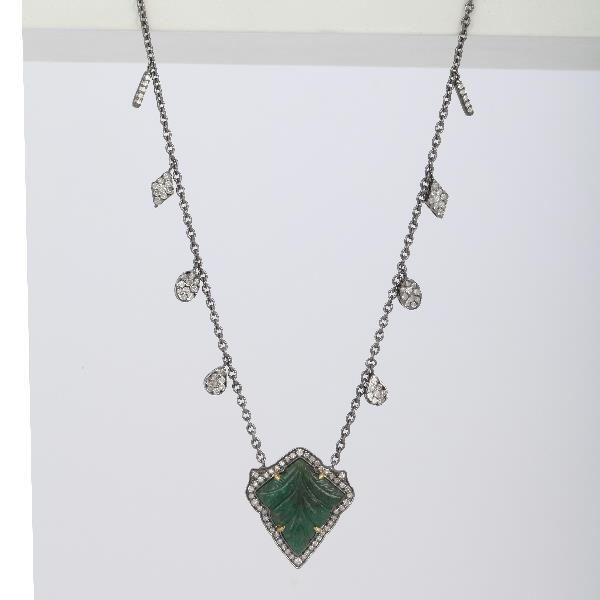 Necklace 18Kt Gold Silver Diam Emerald