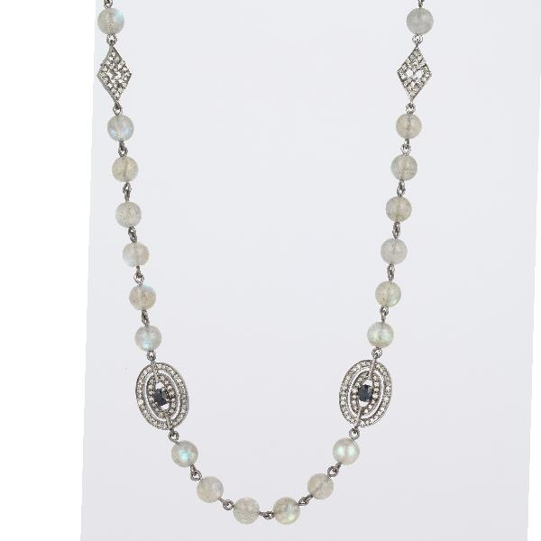 Necklace Silver Diamonds Sapph Labo