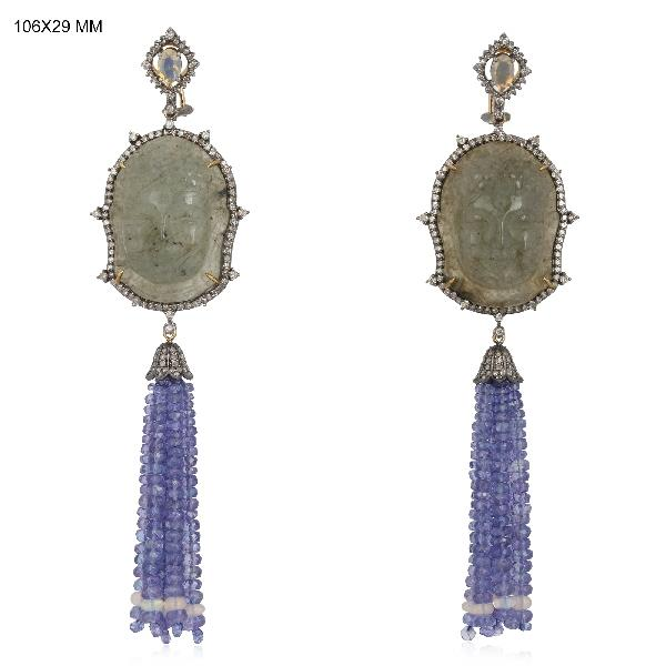 Earrings 18 Kt Gold Silver Diamonds CS