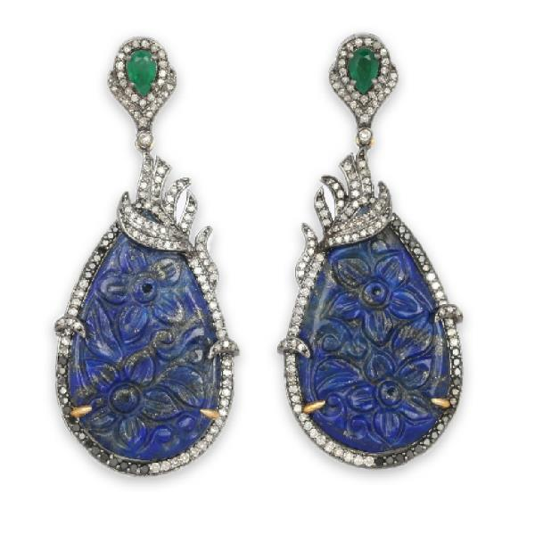 Earrings 18Kt Gold Silver Diam Eme Lapis