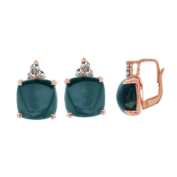 Earrings 18 Kt Rose Gold Topaz White Sap