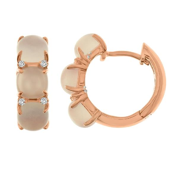 Earrings 18 Kt Rose Gold Diam Rosequartz