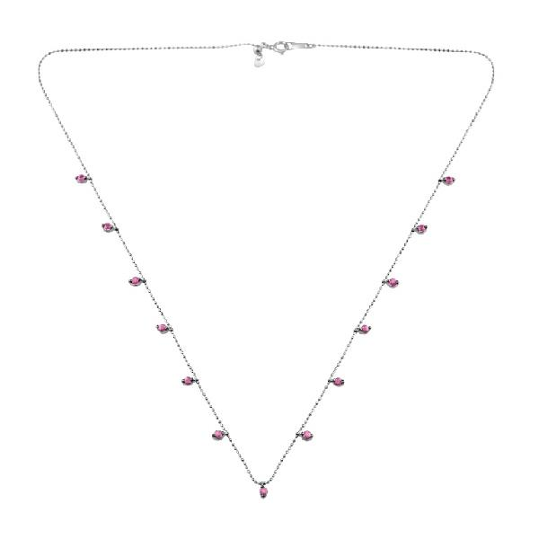 Necklace 18 Kt White Gold Rubies