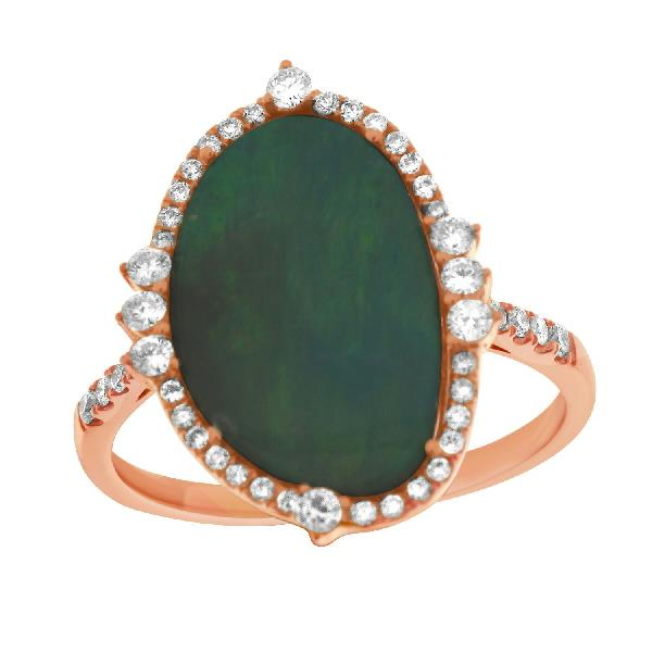 Ring 18 Kt Rose Gold Diamonds Opal