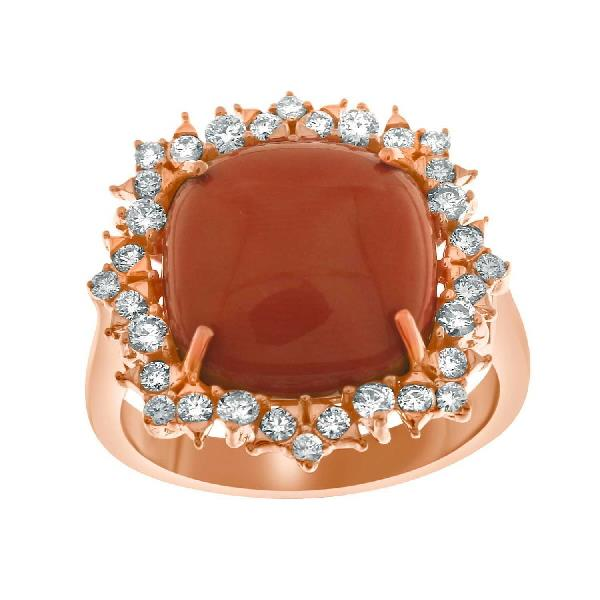 Ring 18 Kt Rose Gold Diamonds Coral