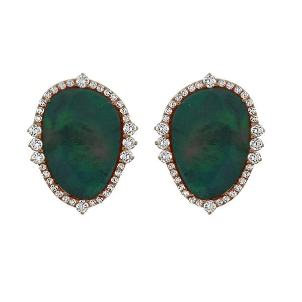 Earrings 18 Kt Rose Gold Diamonds Opal