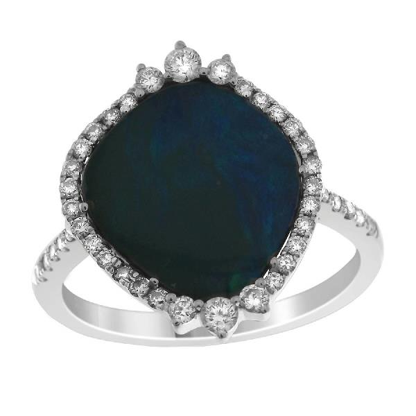 Ring 18 Kt White Gold Diamonds Opal